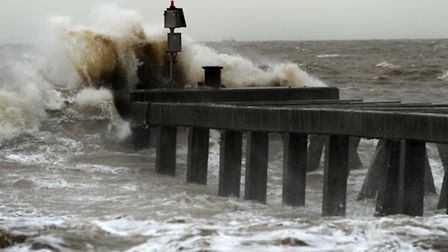 Windy weather and stormy seas pound the coast at Southwold. Library image.