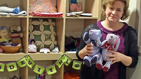 The winning masterpiece, bears Bill and Ben handmade by Ros Oliver, with the winners prize