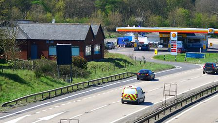 The former Little Chef on the A14 by the Orwell Bridge which is being turned into a training space b