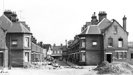 Many of the houses in Cromwell Street, Ipswich were due for demolition when this photograph was take