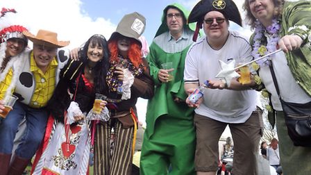 Volunteers and participants from Headway dress up at the Ipswich May Day Festival in Alexandra Park