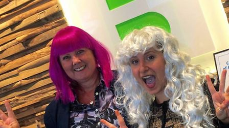 Basepoint Wig Wednesday for CLIC Sargent Alison Morrissey and Leanne Fowler