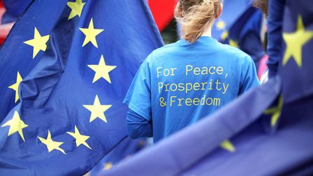 Anti-Brexit demonstrators campaign opposite the Houses of Parliament in London. Photograph: Yui Mok/PA Wire.