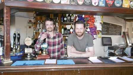 The Steamboat Tavern, Ipswich Landlords Rob Young and Andrew Barlow behind the bar
