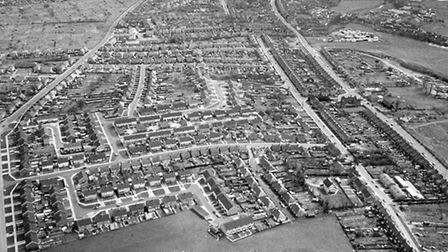 An aerial view of Bramford Lane (left) and Bramford Road, Ipswich, taken in the 1970s. High View Ro
