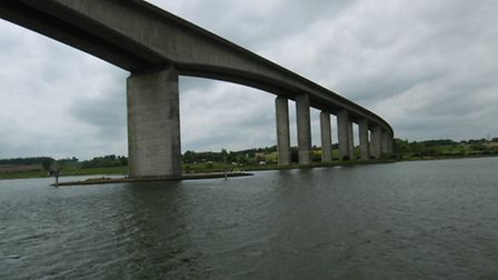 The Orwell Bridge from The Orwell Lady river cruise ship