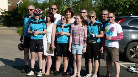 The Cycling Suffolk for Sue charity cyclists, raising funds for St Elizabeth Hospice