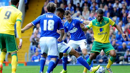 Ipswich Town entertain local rivals Norwich City at Portman Road. Tommy Smith and Tyrone Mings defe