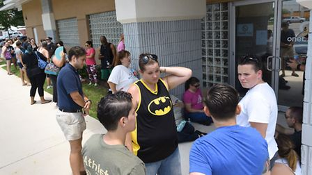 Potential blood donors line up outside a oneblood facility in Florida to help the victims from the s