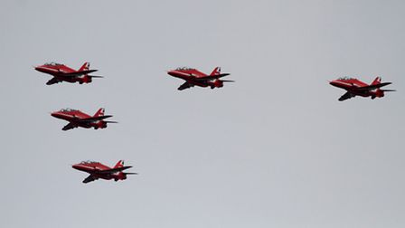 The Red Arrows flypast for the Queen's 90th birthday passes over Suffolk en route to Buckingham Pala