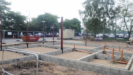 On going building work at Kesgrave High School to construct a new coffee shop for the students