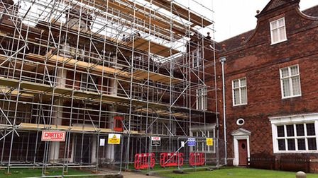 Scaffolding has now gone up on Christchurch Mansion in Ipswich.