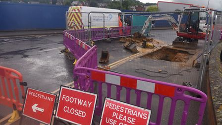 Burst water main causes closure of Commercial Road, Ipswich