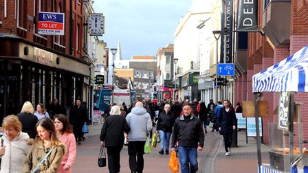 Shopping on the Cornhill, Ipswich Town centre