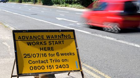 Signs on the approach to Heath Road roundabout warning of roadworks for six weeks.