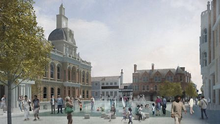 A water feature is included in the proposals for the Cornhill.