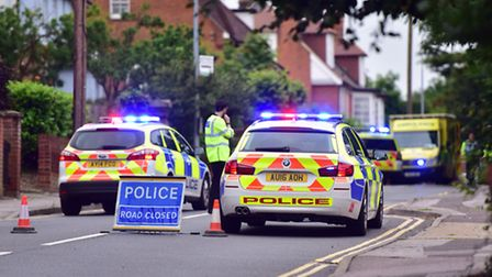 Emergency services attend the scene of a road traffic collision on Belstead Road on Thursday 23rd Ju