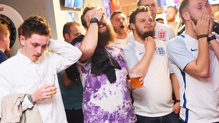 England football supporters watching the England v Iceland Euro 2016 match in The Gardeners Arms, Ip