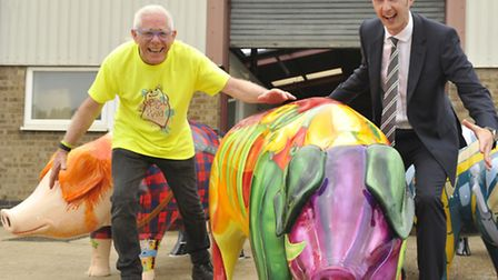 Pigs Gone Wild Project Manager Norman Lloyd and Head of Property for the East of England Cooperative