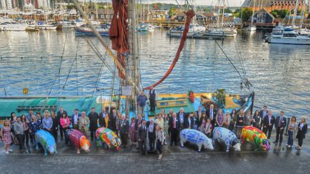 Sponsors outside the Old Customs House on Ipswich Waterfront at the Pigs Gone Wild pre-launch.