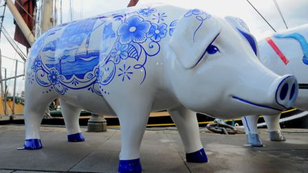 ABP's pig, Ipswich Blue outside the Old Customs House on Ipswich Waterfront at the Pigs Gone Wild pr