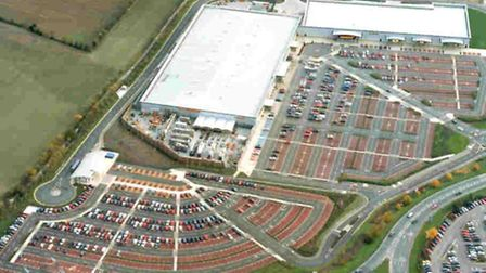 Anglia Retail Park - the development would be built in the green space to the left of the retail par