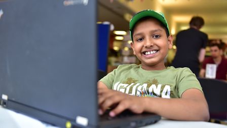 Familes attended the first session of the Minecraft club at Ipswich library on Tuesday 26th July. M
