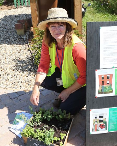 Lesley Hartley with the sustainable driveway.