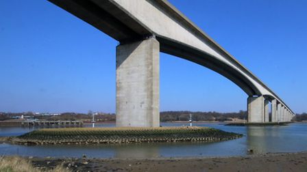 A tractor broke down just after the Orwell Bridge.
