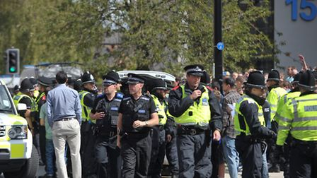 Police at the Ipswich v Norwich derby.