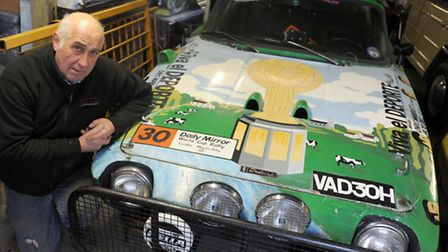 John Lansbury is pictured with his Trident rally car.