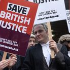 Barristers and solicitors outside Southwark Crown Court protesting against government plans to cut f