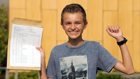 GCSE results day at Kesgrave High School. Jonathan Durston celebrates his results.