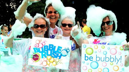 From left to right: Sophie Brooks, Jo Brooks, Holly Mattin and Sarah Mattin get bubbly!