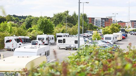 Travellers arked up on a council car park on West End Road, Ipswich.