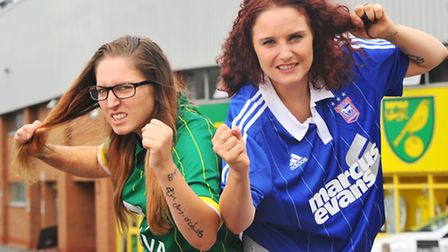 Rival sisters Beth Howman, Norwich fan and Katie Boothe, Ipswich fan, will be getting their heads sh