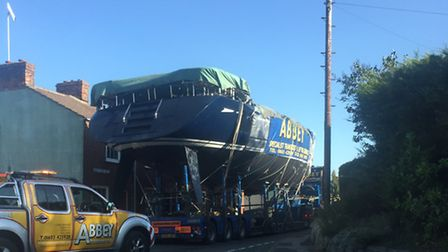 The large boat, which casued delays for motorists as it was escorted through the county, pictured in