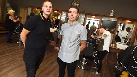 Former ITFC player Darren Ambrose (right) and business partner Nathan Head opened Mr Barbers in Duke