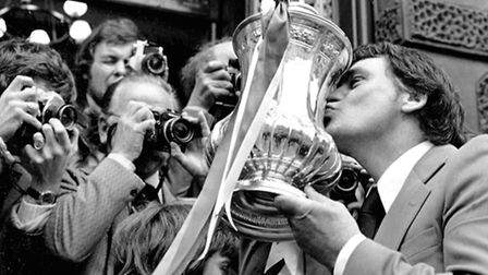 Sir Bobby Robson with FA Cup on Cornhill, Ipswich