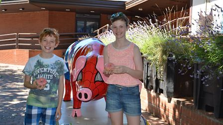 Jensen and Madeline Cooke with Spider Pig