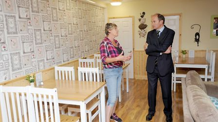 The High Sheriff of Suffolk visits the newly developed Meeting Place in Ipswich. Mags Fortune shows