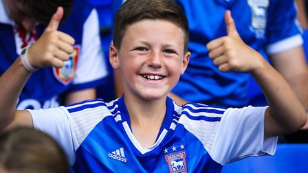 A young fan at the Ipswich Town v Barnsley (Championship) match at Portman Road, Ipswich, on 06 Augu
