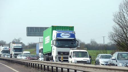The accident caused tailbacks on the A12 at Capel St Mary