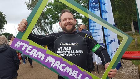 Nick Williams, who has beaten his own challenge to complete 40 fundraising missions for Macmillan Ca