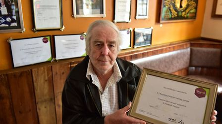 David Parry has raised over �52,000 for charity over the last 30 years. He ha received his latest ce