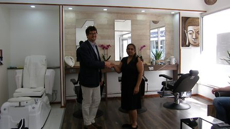 Richard Bertram of Beane, Wass and Box and salon owner Mrs Sonal Patel at the salon in Carr Street,