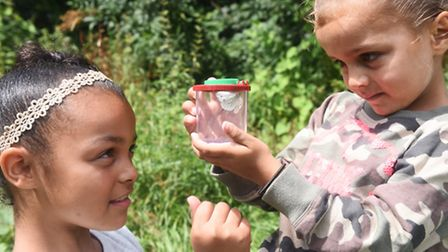 Mya and Leah catching butterflies at a Holywells Park family fun day.