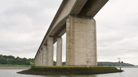 On the River Orwell passing under the Orwell Bridge.