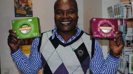 Patrick finds his tea in the Fairtrade Shop
