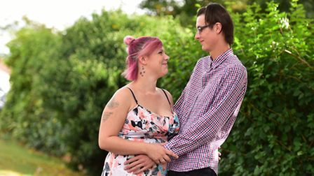 Luke Johnson,who was a cancer patient at Ipswich Hospital, and his girlfriend, Natasha Tuck, are bra